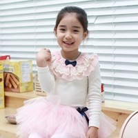 hot sale 1pcs retail 2~9age 2014 new fashion korean girls blouses t shirts shij066