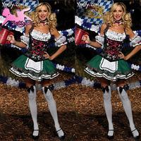 women costume Sexy Oktoberfest Grass Green maid uniform Restaurant Working Plus Size Clothes Fancy Dress halloween cosplay FM004