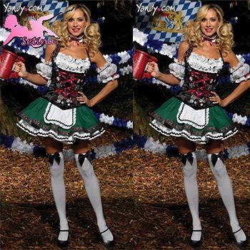women costume Sexy Oktoberfest Grass Green maid uniform Re