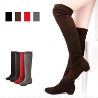 2013 spring and autumn scrub elastic flannelet over-the-knee round toe low-heeled boots female boots high-leg