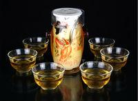 230ML distinctive tea set including 1 glass with porcelain teapot + 6 cups, 7pcs chinese glass tea set, two models optional