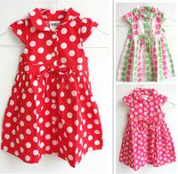 Retail 2014 Brand cotton Girl Dress dot  bow  Flower Girls Princess Dresses For Kids Clothing party  Girls' Dresses Costumes