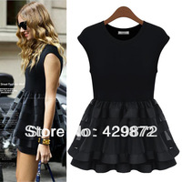 Fashion Womens 2013 Summer Short-sleeve Princess Dress Short Skirt Patchwork Lace And Cotton One Piece Mini Dress Vestidos