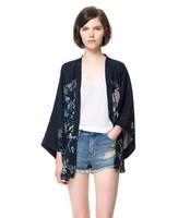2014 spring autumn winter fashion women   irregular phoenix print leisure loose blue shirt blouse tops cardigan free ship xhf