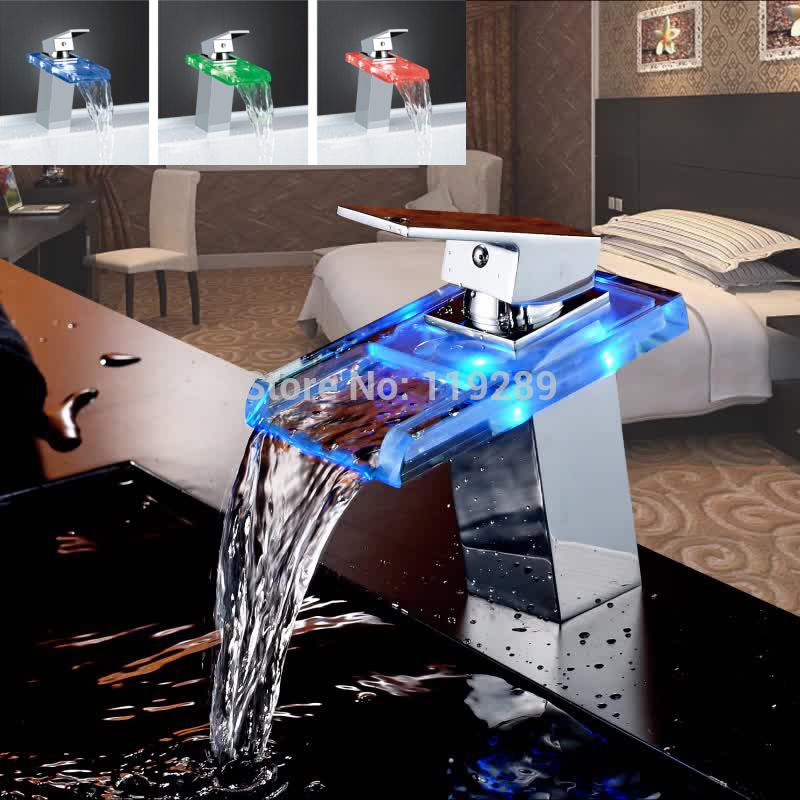 Avançada e moderna led cachoeira de vidro da bacia de bronze polido torneira do banheiro torneira misturadora deck montado bacia pia torneira misturadora xp-009