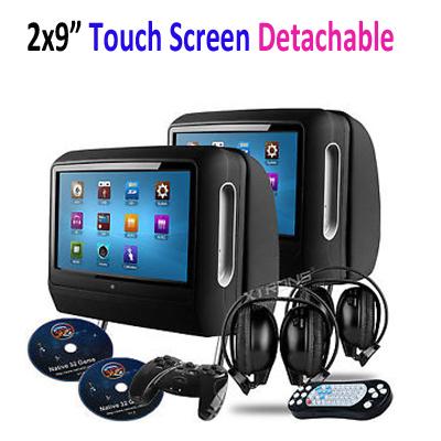 """2x9"""" écran tactile voiture lecteur dvd appuie tête oreiller. moniteur. panneau amovible dvd usb sd fm casque ir ir +2 +2 game pad"""