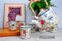 7 pcs Chinese DEHUA porcelain tea set with rattan handle, flower and bird pattern design china teaset