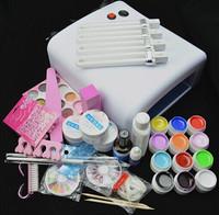 Professional Full Set  12 color UV Gel Kit Brush Nail Art Set + 36W Curing UV Lamp kit Dryer Curining