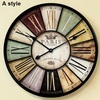 Home decor wall clock antique style 60cm & 34cm Large mute iron crafts vintage old wall watch with roman character