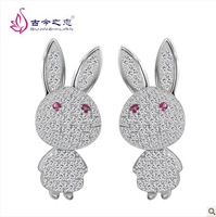2013 New Arrival Fashion 925 sterling silver  stud earrings   Korean female models little bunny earrings hypoallergenic