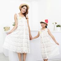 FreeShipping 2014 summer children costume brand flower lace vestido princesa baby kids clothes dresses Family Pack,for mom,girls
