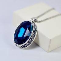 New 2015 Fashion retro big square blue sapphire pendants baroque gem vintage chain necklaces women jewelry pendant long necklace