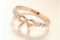 Min.order is $5 (mix order)Free Shipping,Korean Simple Ring Fashion Jewelry,Imitation Diamond Crystal Bow Ring