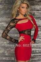 2014 New Women Sexy Red Flower Autumn Summer Lace Long Sleeve Dress Patchwork Color Blocking Dresses Plus size M XXL J8930