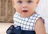 T038 New cute little princess refreshing color baby summer plaid climbing clothes sleeveless dress