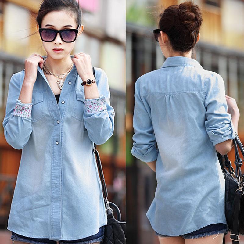 Clearance price Free Shipping 2014 New Fashion Plus Size Blue Denim Shirt Trun Down Collar Large Women Blouse Women's Clothing(China (Mainland))
