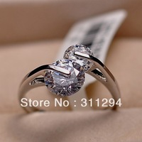 JJ256 Top Selling High Quality 18K Platinum Plated Women Ring Fashion Double Zircon Wedding Rings