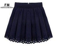 Hot New Ladies Pleated Mini Skirt Women 2014 High Waisted Skater Skirts Short Pleated Fashion Navy White Women Hole Hollow out
