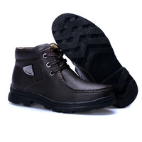 hot! Leather waterproof snow boots, outdoor mountaineering shoes, High-quality leather + rubber outsole + plush,winter men boots