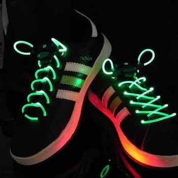Free shipping,20pcs(10pair) Led flash shoelace, neon colorful luminous shoelace Flash Shoestrings without  retail package