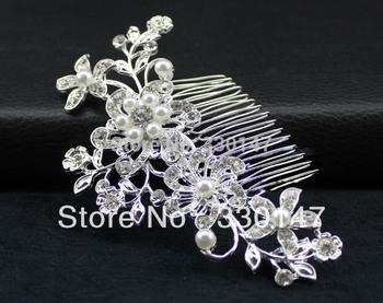 Acessorios Para Cabelo Tiara Noiva Free Shipping Bridal Wedding Prom Flower Sparkling Pearls Diamante Hair Comb Pin Clip B.i
