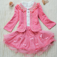 Retail- Gril 3 piece dress(top+t shirt+dress)  2013 children kids girls winter