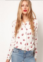 1pcs Free Shipping New White Women Stand Collar Button Red lip Print Blouse Long Sleeve Shirt Top 3 size