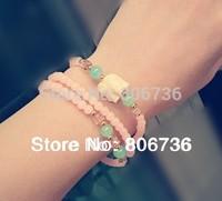 Min Order $15 Free Shipping Charm Bracelets Fashion Pink Bracelet Vacation  Bracelet White Elephant Lucky Bracelet  For Women