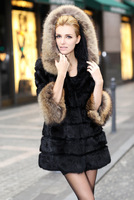New Genuine  Rabbit Fur Jacket With Raccoon Collar Coat Winter Warm Garment Outwear TPCR0009