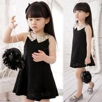 2014 New Summer Lovely Girls dress Baby Kids fake Sequins Collar flower Sleeveless Vest Lace Princess Dress Black White 14554
