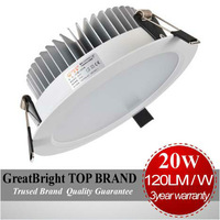 Top Quality 1pcs  LED 20W led recessed downlight lamp dimmable + indimmable  AC 85-265V 110V 220V 240V 3Year warranty  : TDA20