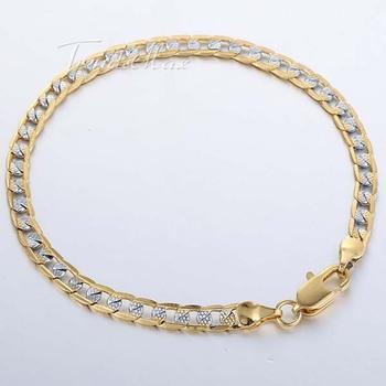 4 мм 18 К серебро золото заполненные браслет снаряженная кубинский браслет оптовая ...