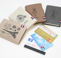 Free shipping,Min order 15$ (Mixed order) Fashion Vintage Eiffel Tower Coat Hanger Bike Linen Multi Credit Card Holder Bag Case