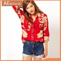 2013 New Fashion Autumn Flower Print Red Women Chffion Blouses, Long Sleeve Shirts, Tops with Button Closer, Free Shipping, 270
