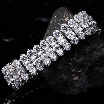 Luxury Spa Stone Bracelets Make with Swarovski Elements 3 Rows ATop Quality swiss cubic zirconia Diamond (JS001) Fashion Jewelry