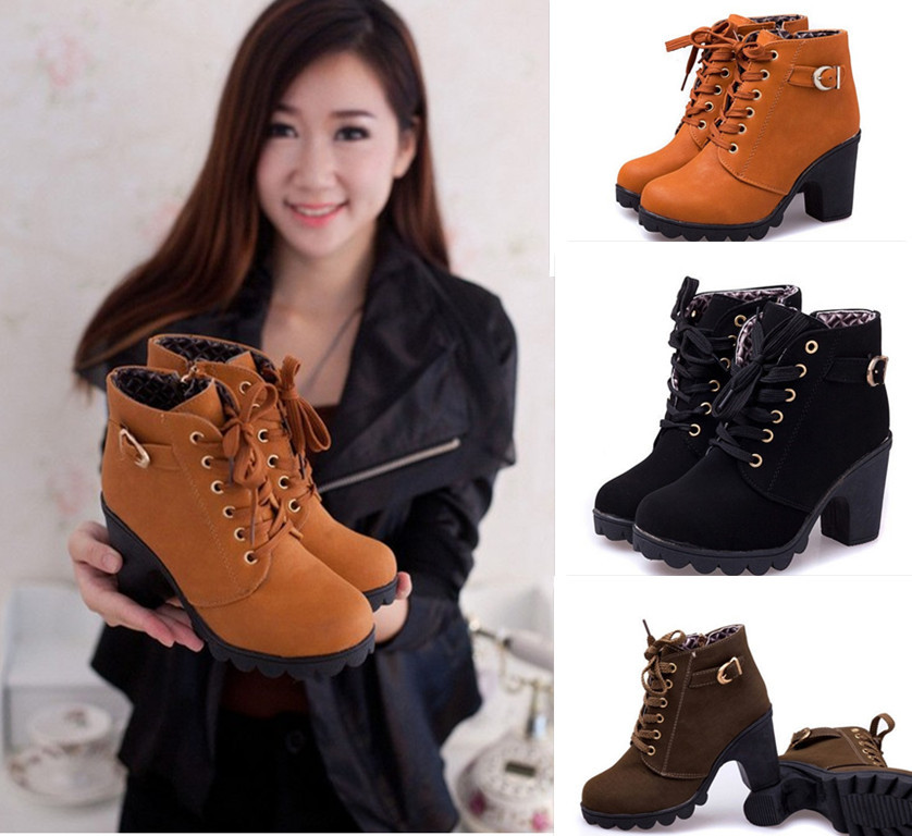 Womens Ankle Boots Zipper Lace Up Motorcycle Boots for Women High Heel Warm Martin Boots Warm Shoes(China (Mainland))