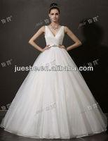 Elegant Fashion Designer V Neckline Zipper Closure Organza Wedding Dress Custom With Crystal Beaded Sash