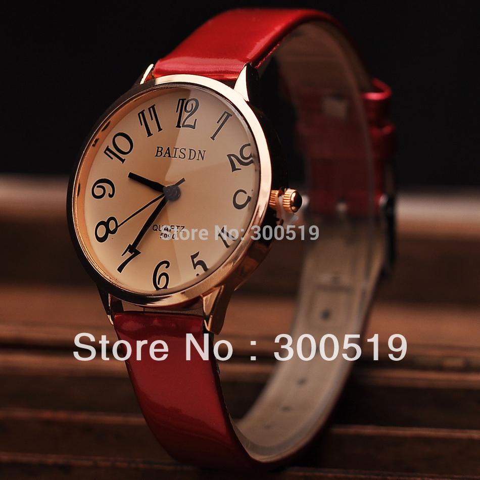 JW291 New Women Fashion Bright Leather Strap Watches Big Digit Ladies Wrist Quartz Watch Dress Watch(China (Mainland))