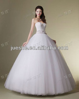 Jueshe Designer On Sale Beaded Sash Lace Strapless Custom Real Sample Ball Gown Wedding Dress