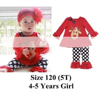 Retail 2014 Autumn New Style Toddler Girl Fashion Christmas Clothing Children Sets Baby Tshirt + Polka Dots Pant Suit Kids Wear