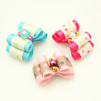Handmade Accessories For Dogs Grooming Jelly Beads Colored Dots Ribbon Hair Bow  Pet First Flower Wholesale.