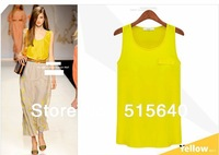 Fashionable loose chiffon shirt Women's sleeveless tops summer lady's all-match shirt Free Shipping