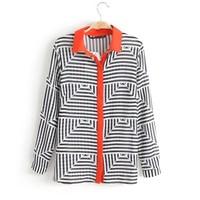 Women leisure chiffon striped prints turn-down collar full sleeves shirts button closure blouse 217828