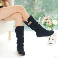 Plus Size Eu34-43 Inner Wedges Plicated Lace Edge Women's Fashion Black Flat Bottom Mid-Calf Boots Woolen warm Winter Shoes