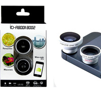 Color box 3 In 1 Universal Mobile Phone Lens for iphone Samsung I9500 n9000 HTC Fish Eye + Macro + Wide Angle CL-1-2C