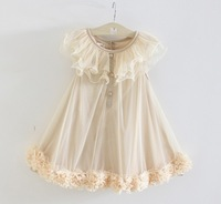 2013 New children clothing princess dress girls vest fully thin  flowers bitter fleabane gauze plate dress Size 110~150