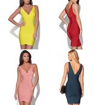 ... Backless Deep V-Neck Plus Size Bodycon Bandage Dress Women Party