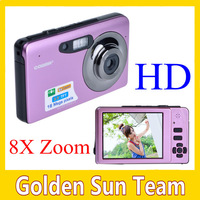 (gift:4 SD card) New HD Video 16 Mega Pixel Digital Camera pink/red color 8X Digital Zoom Anti-Shake  Freeshipping(Give A Gifts)