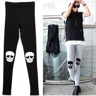 Free Shipping Cotton Skull Print Leggings,Girls Skull Legwear,Footless Skull Pantyhose