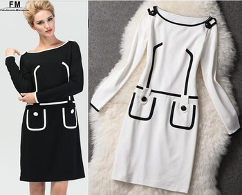 Long Sleeve Knitted Winter Dress Black And White Bodycon Dress New Arrival Women Dresses Brand 2014 High Quality Dress AW13D014